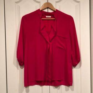 Everly pink blouse w mandarin collar